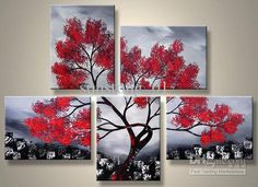 A modern tree spread out on multiple canvases Art Projects, Projects To Try, Project Ideas, Landscape Paintings, Oil Paintings, Painting Art, Red Tree, Poster Pictures, Modern Landscaping