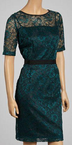 Emerald & Black Lace A-Line Dress