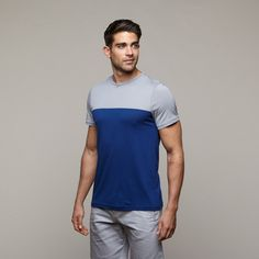 Color Block Tee // Grey + Royal - One of the most popular and renowned resort wear lines out there, Parke & Ronen's collections for men will make you crave the beach. Replete with fine details, done in the highest quality fabrics, and tailored for an exquisite fit, these swimsuits and sporty basics are made for the guy who likes to dress simply but look sensational. Sold in top stores across the world, this resort wear combines classic shapes with engaging design for a look that anyone can…
