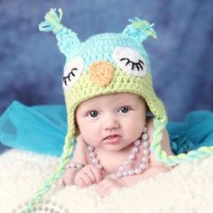 Tuque hibou turquoise/vert