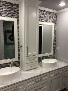 Master bathroom, double sinks, gray marble counter, custom cabinets