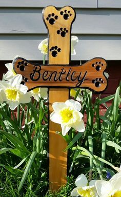 Dog Memorial Garden Sign Dog Memorial Cross by BobsWoodSignShop