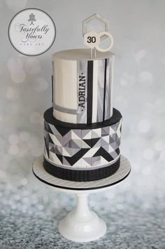 Geometric cake - Cake by Marianne: Tastefully Yours Cake Art Cupcakes, Cupcake Cakes, Masculine Cake, Cake Design For Men, Geometric Cake, 30 Cake, Confirmation Cakes, Modern Cakes, Unique Cakes