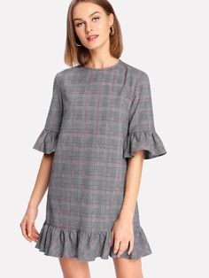 Shop Ruffle Cuff And Hem Plaid Dress online. SheIn offers Ruffle Cuff And Hem Plaid Dress & more to fit your fashionable needs. Plaid Dress, Dress P, Dress Outfits, Casual Dresses, Fashion Dresses, Dress Online, Diy Fashion, Collars, Tunic Tops