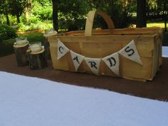 CARDS Box/Basket- Small Apple Orchard Basket with custom made Mini Banner with ANY WORD. $45.00, via Etsy.