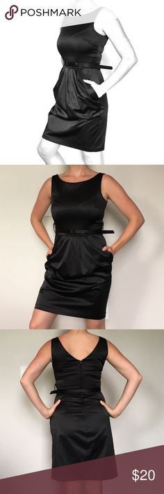 Belted Little Black Dress w/ Pockets This semi-formal dress has a beautiful satin sheen, a matching skinny belt, and a bubble front.  The best part?  It has pockets!!  Simple, chic, and elegant.  Like new! Teeze Me Dresses Midi