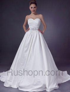Princess Ball Gown Sweetheart Strapless Sash Satin Wedding Dress