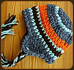 Baby Boy Crochet Hat with Stripes Orange Navy Aqua on Etsy fd363d908f3f