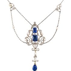 Edwardian Sapphire Diamond And Pearl Necklace