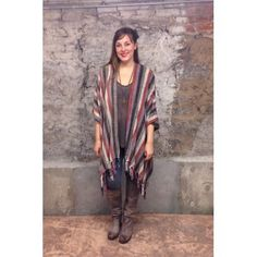 Gifts :: For Her :: Chenille Kimono: Lavender, Taupe and Coral Striped Ultra Soft Poncho