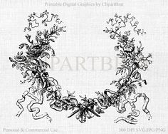VINTAGE FRENCH FRAME Clipart Commercial Use Clipart by ClipArtBrat