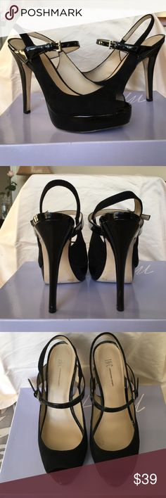 """Black suede & patient leather peep toe heels Beautiful INC suede and patent leather heels. Silver buckles. Heels and platforms are patient leather. Main part of shoe is suede. Worn 3 or 4 times.  Very good condition. Platform is 1"""". Heels are 5"""". INC International Concepts Shoes Heels"""