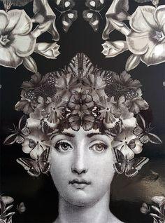 Decoupage original inspiración Fornasetti retrato simétrico Collages, Collage Art, Decoupage, Piero Fornasetti, Fornasetti Wallpaper, Dan Hillier, Italian Painters, Pre Raphaelite, Art Academy