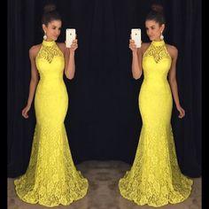 Yellow Prom Dress,Mermaid Prom Dress,Lace Prom Dress,Fashion Prom