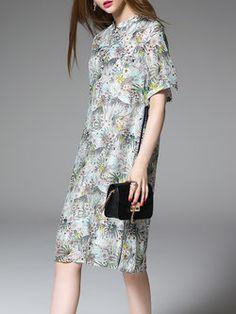 A-line Casual Silk Printed Short Sleeve Midi Dress