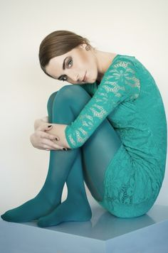 Floral aqua blue dress and tights in a stylish pose (Pantyhose Party & Tights) Colored Tights Outfit, Green Tights, Coloured Tights, Thigh High Leggings, Tight Leggings, Pantyhose Outfits, Nylons And Pantyhose, Aqua Blue Dress, Blue Dresses