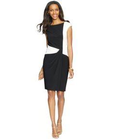 7decb2f8938 American Living Two-Tone Cap-Sleeve Dress   Reviews - Dresses - Women -  Macy s