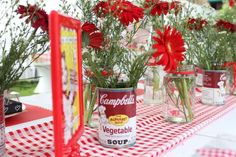 Retro-Red-And-White-Bridal-Shower-Flowers-Plaid-Covers                                                                                                                                                      More