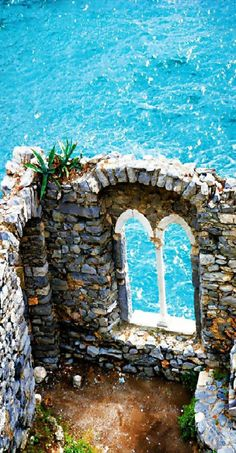 Ruins of Doria Castle in Portovenere, Italy along the Mediterranean Sea Coast