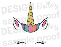 Unicorn Face  JPG png & SVG DXF cut file Printable Birthday Girl Crown Flower