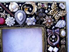Frame made with vintage jewlerie