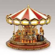 """Christmas Gold Label """"The Carousel"""" Music Box Mr Christmas, Christmas Labels, Gold Labels, Christmas Decorations, Christmas Ornaments, Collectible Figurines, How To Make Ornaments, Trinket Boxes, Snow Globes"""