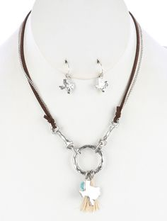 Suede Necklace Silver Texas Charm Set