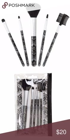 NEW~ Lace Print Makeup Cosmetic Brush Set LACE PRINT Travel Makeup Brush Set  Condition: New Color: Black Product Details:   An artist is only as good as her tools. Don't leave home without yours, you never know when you'll need a touch up! This 5-piece lace print cosmetic brush set comes in a sealable clear vinyl pouch convenient for travel but realistic for every day use. Includes: face brush, flat concealer/shadow brush, detail brush, lip brush and eyebrow/lash brush.  Imported…