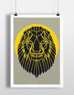Art Print, Geometric Lion Head Print, Cool Gray Lion Head Art, Yellow Circle,Safari Art, Nursery Art, Animal Art