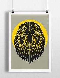 Art géométrique, publicité Lion tête d'impression, tête de Lion grise Cool Art, cercle jaune, Safari Art, Art de la pépinière, Animal Art