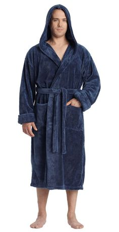 2a8e4685c4 MENS HOODED SATIN FLEECE TURKISH BATHROBE LUXURY SPA ROBE  fashion  clothing   shoes