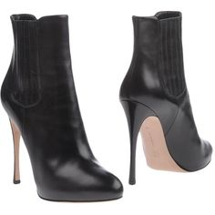 Gianvito Rossi Ankle Boots ($605) ❤ liked on Polyvore featuring shoes, boots, ankle booties, black, black ankle boots, leather boots, stiletto ankle boots, black booties and leather booties