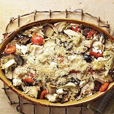 Greek Tuna Casserole: Tuna casserole is a timeless comfort-food recipe; this one incorporates eggplant, artichoke hearts, oregano, olives and feta cheese for a Greek flair. Diabetic Casserole Recipe, Tuna Casserole Recipes, Diabetic Recipes, Healthy Recipes, Noodle Casserole, Diabetic Foods, Dairy Recipes, Meatless Recipes, Chicken Casserole