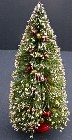 "Vintage Bottle Brush Christmas Tree Mercury Glass Garland 12 1/2"" | eBay"
