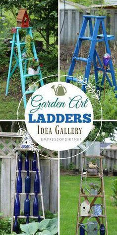 Garden Art Ladders Idea Gallery Old wood ladders are wonderful in the garden. Have a look at these ideas for turning ladders into functional garden art. Use them as trellis, planters, herb growing, and decor. Diy Garden Projects, Garden Crafts, Garden Art, Garden Design, Garden Ideas, Backyard Ideas, Easy Projects, Landscaping Ideas, Plant Crafts