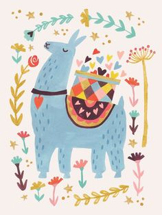 Oopsy Daisy Blue Llama by Irene Chan Canvas Art Alpaca Illustration, Illustration Mignonne, Cute Illustration, New Year Illustration, Alpacas, Images Lama, Lama Animal, Llama Pictures, Llama Images