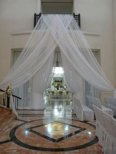 "Wedding Sheer Drape  10'x116"" White or Ivory for Backdrop, Room divider, Curtain"