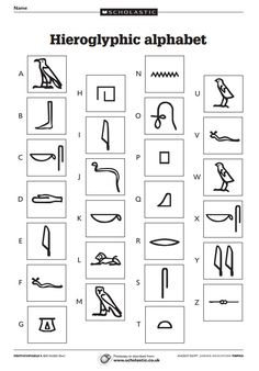 Three sheets including a hieroglyphic alphabet and code-cracking activities. Egyptian Crafts, Egyptian Party, Ancient Egyptian Art, Ancient History, Ancient Egypt Crafts, Ancient Egypt Activities, Ancient Egypt For Kids, European History, Ancient Aliens