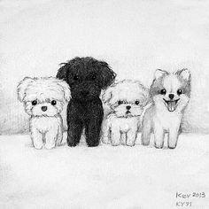 Cute dogs drawing idea