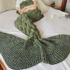 Army Green Solid Color Knit Textured Mermaid Blanket from Romwe on 21 Buttons