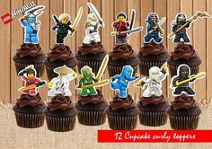 Lego Ninjago Cupcake Toppers Lego Birthday Party Lego