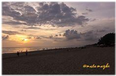 lovely sunset, legian beach, bali, indonesia