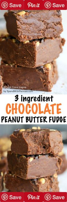 Easy Chocolate Peanut Butter Fudge is a no fail fudge recipe! Just a few minutes of prep and only 3 simple ingredients you likely already have to create this family favorite!  #Easy