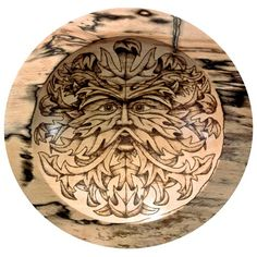 'The Green Man' Spalted Beech Bowl With Pyrography