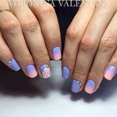 Beautiful gradient nails, Drawings on nails, Evening nails, Ideas of gradient nails, Pink and blue nails, ring finger nails, Romantic nails, Spring gradient nails