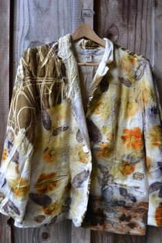 wool jacket eco printed with yellow flower, ecu leves and onion skins by www.tashwesp.com