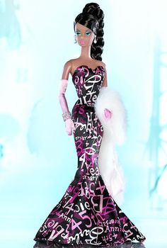 Barbie wears a stunning graffiti print form-fitting dress that celebrates her 45th anniversary.