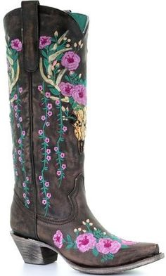 new concept 239a7 8280c Corral Women s Brown Deer Skull Overlay Floral Embroidered Cowgirl Boots -  Snip Toe, ...