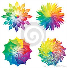 Set of Color Wheels / Circles / Flowers Rainbow Colors