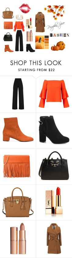 """Pumpkin Spice"" by hannah-mae-lebron ❤ liked on Polyvore featuring Miss Selfridge, L'Autre Chose, Boutique Moschino, Charlotte Olympia, MICHAEL Michael Kors, Yves Saint Laurent and Charlotte Tilbury"